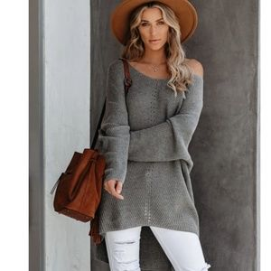 LEEANN Slouchy Off Shoulder Knit Sweater